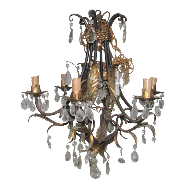 Wrought Iron Brass & Crystal Chandelier For Sale