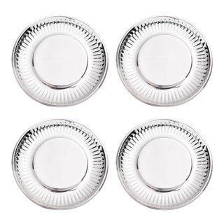 """""""Paper Plate"""" in Stainless Steel Large - Set of 4 For Sale"""