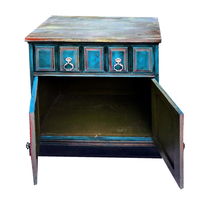 Wood Patrick Briggs 'Blue' 2021 Refinished Wooden Nightstand Storage Credenza For Sale - Image 7 of 9