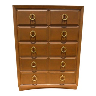 1950s Mid-Century Modern Stately Robsjohn Gibbings Widdicomb Bachelor's Chest For Sale