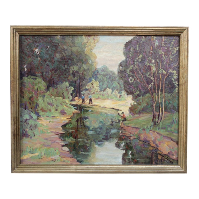 """""""Fishing on the River"""" Painting by Jessamine Johnson For Sale"""