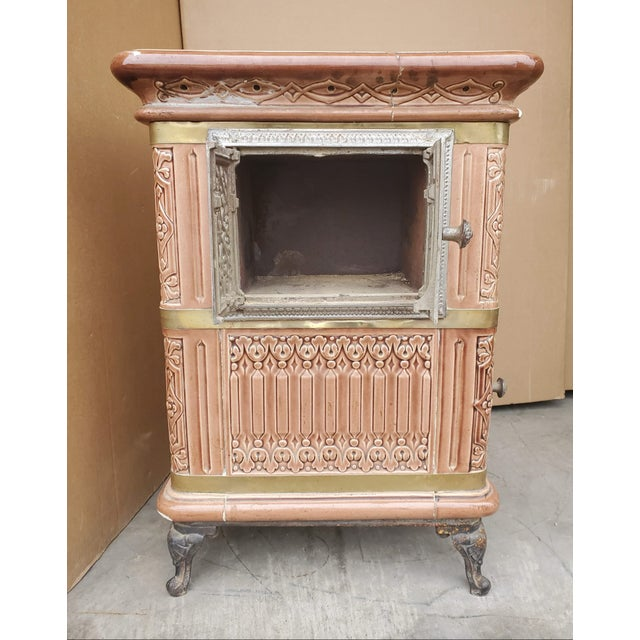 19th Century 19th Century French Sarreguemines Ceramic Tile Heating Stove For Sale - Image 5 of 12