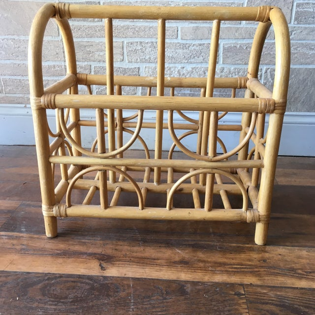 Mid 20th Century Vintage Bamboo / Rattan Bentwood Divided Magazine Holder For Sale - Image 5 of 7