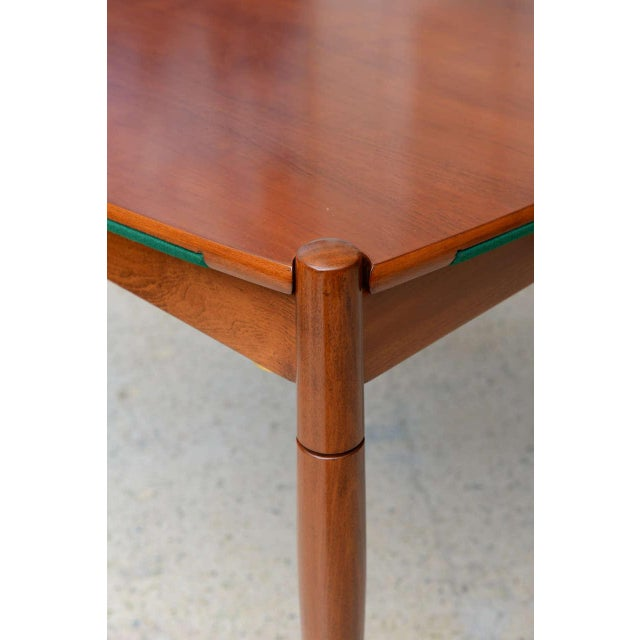 Metal Italian Modern Walnut Game Table by Gio Ponti for Singer & Sons For Sale - Image 7 of 11