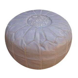 Gray Moroccan Leather Pouf For Sale