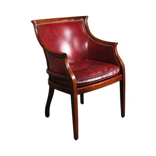 Regency Style Solid Mahogany & Leather Tub Chair For Sale