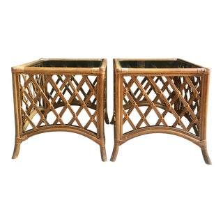 Vintage Rattan + Glass Side Tables - a Pair For Sale