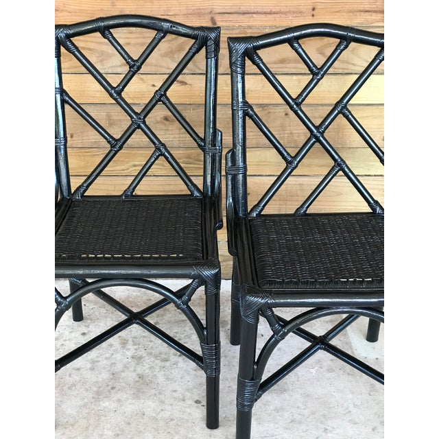 Wood Coastal Regency Rattan Black Lacquered Chinese Chippendale Chairs-A Pair For Sale - Image 7 of 10