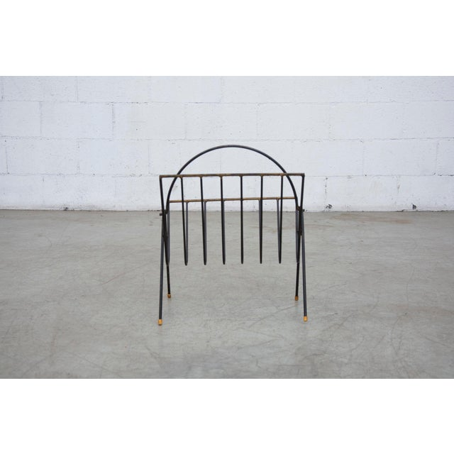 Carl Aubock Style Black Wire Magazine Rack - Image 5 of 9