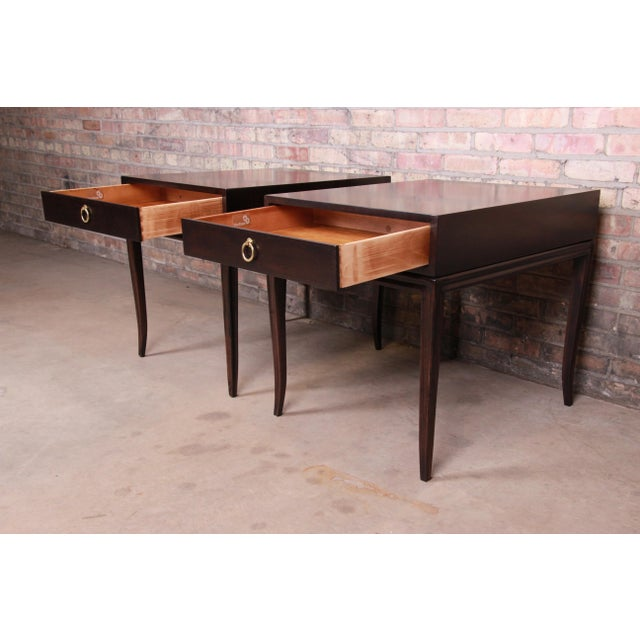 Metal Drexel Heritage Hollywood Regency Mahogany Nightstands or End Tables, Newly Refinished For Sale - Image 7 of 13