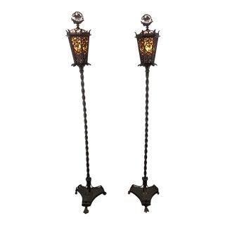 Oscar Bach Segar Studios Bronze Torchieres Floor Lamps - Pair For Sale