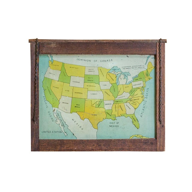 Antique Map Folk Art Painting of United States - Image 1 of 8