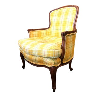 Yellow Plaid Bergere Chair