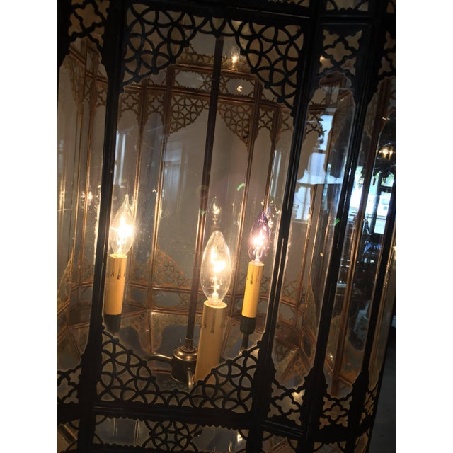 Gold Large Vintage Moroccan Moorish Glass Light Fixture For Sale - Image 8 of 10