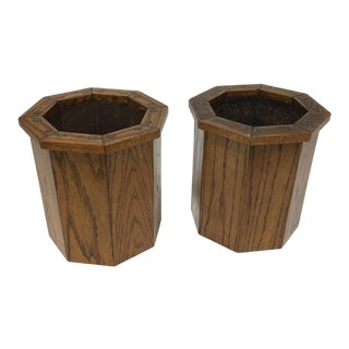 Octagonal Arts and Craft Style Wastebaskets or Plant Holders - a Pair