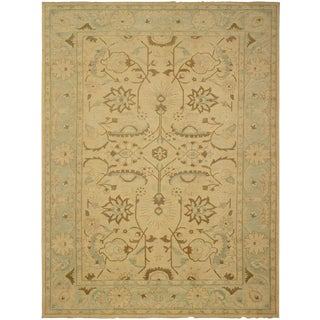 Lahore Peshawar Zora Lt. Tan/Lt. Green Hand-Knotted Rug - 13'3 X 17'9