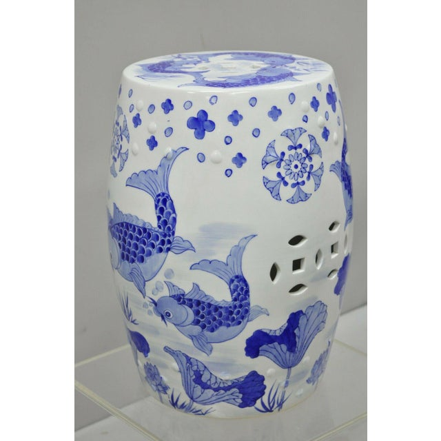 Blue & White Koi Fish Porcelain Chinese Garden Stool For Sale - Image 9 of 12