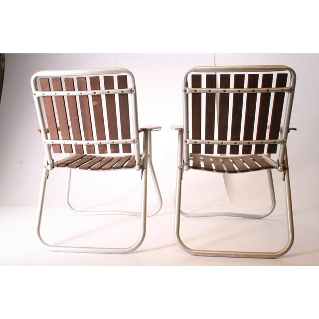 Mid Century Redwood Aluminum Folding Patio Chairs - A Pair For Sale - Image 4 of 11