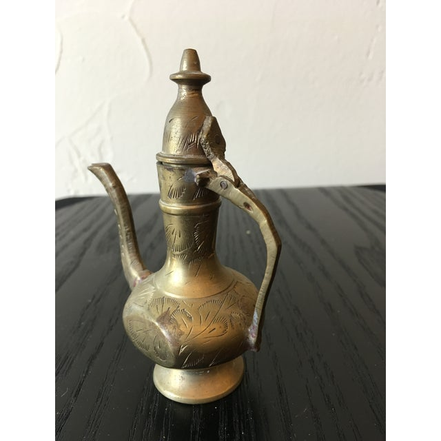 Mid-20th Century Islamic Hinged Lidded Etched Brass Pitcher For Sale In Dallas - Image 6 of 10