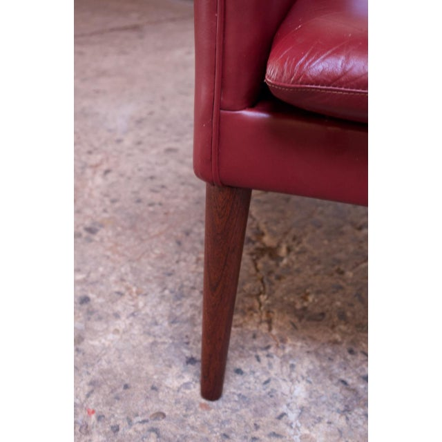 Danish Modern Cranberry Leather Settee by Hans Olsen For Sale - Image 10 of 13