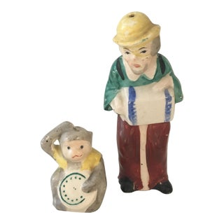 Vintage Monkey & Accordion Grinder Salt & Pepper Shakers For Sale