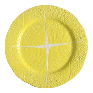 """Secla Cabbage Yellow 13"""" Round Platter For Sale"""