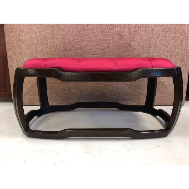 Mid-Century Modern Asian style tufted upholstered bench. The bench has a solid mahogany frame with an upholstered tufted...
