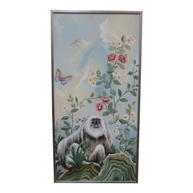 Late 20th Century Decorative Monkey Painting For Sale