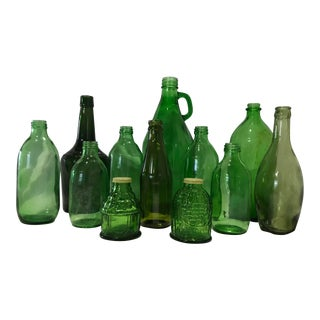 Vintage Green Bottles, Set of 11 For Sale