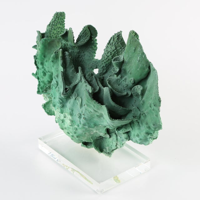 VINTAGE GREEN CORAL SPECIMEN MOUNTED ON A LUCITE STAND For Sale In New York - Image 6 of 10