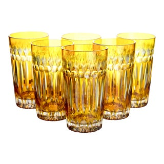 1970s Cut Crystal Yellow Highballs - Set of 6 For Sale