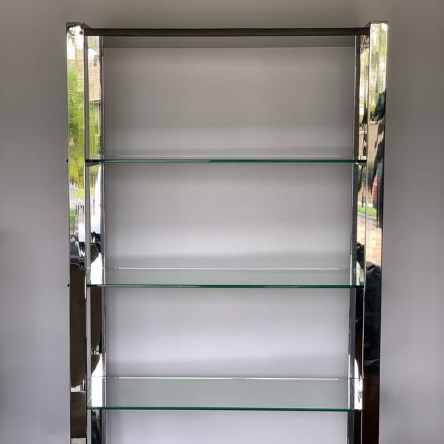 Chrome Etagere With Glass Shelves For Sale In San Diego - Image 6 of 8