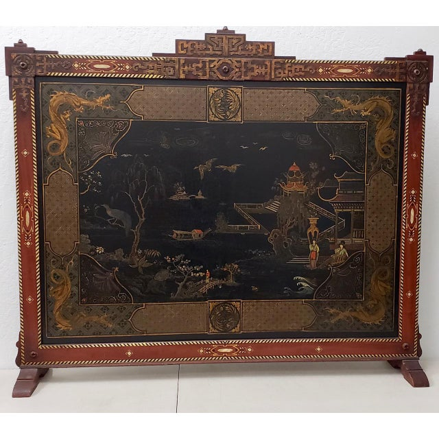 Vintage Chinese Carved & Painted Fire Screen C.1940s For Sale - Image 11 of 11