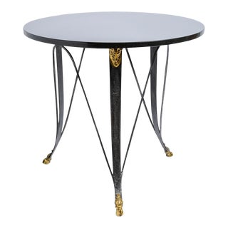 Neoclassical Brushed Steel, Black Granit Top Gueridon With Brass Hoof Feet & Ram Heads For Sale