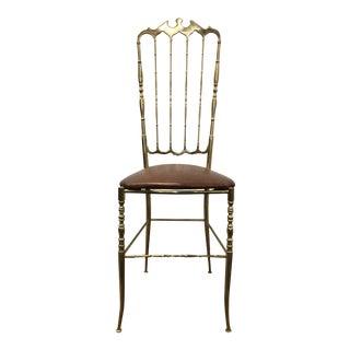 Vintage Mid Century Italian Chiavari Brass Chair For Sale