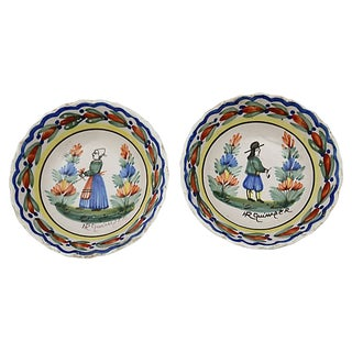 Antique French Quimper Bowls, S/2 For Sale