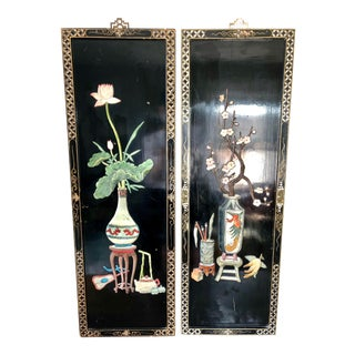 Vintage Chinese Black Lacquer Hardstone Panels- a Pair For Sale