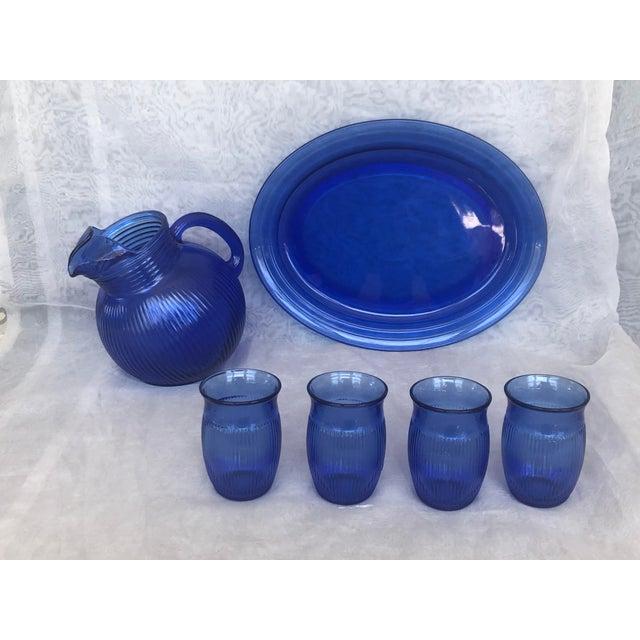 Vintage Cobalt Blue Glass Lemonade Set- 6 Pieces For Sale - Image 13 of 13