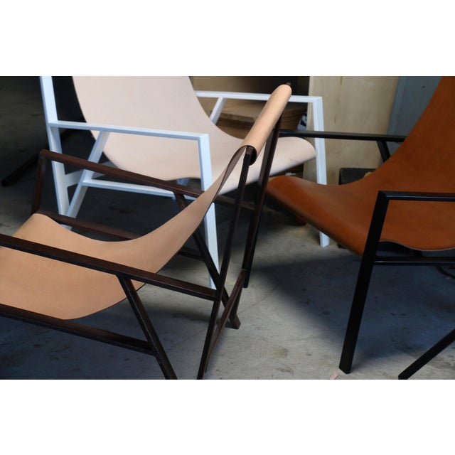 Metal Hampton Light Black Frame, Distressed Brown Leather Lounge Chair For Sale - Image 7 of 8