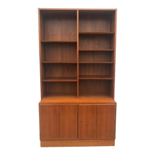 Danish Modern Shelving Unit With Locking Cabinet For Sale