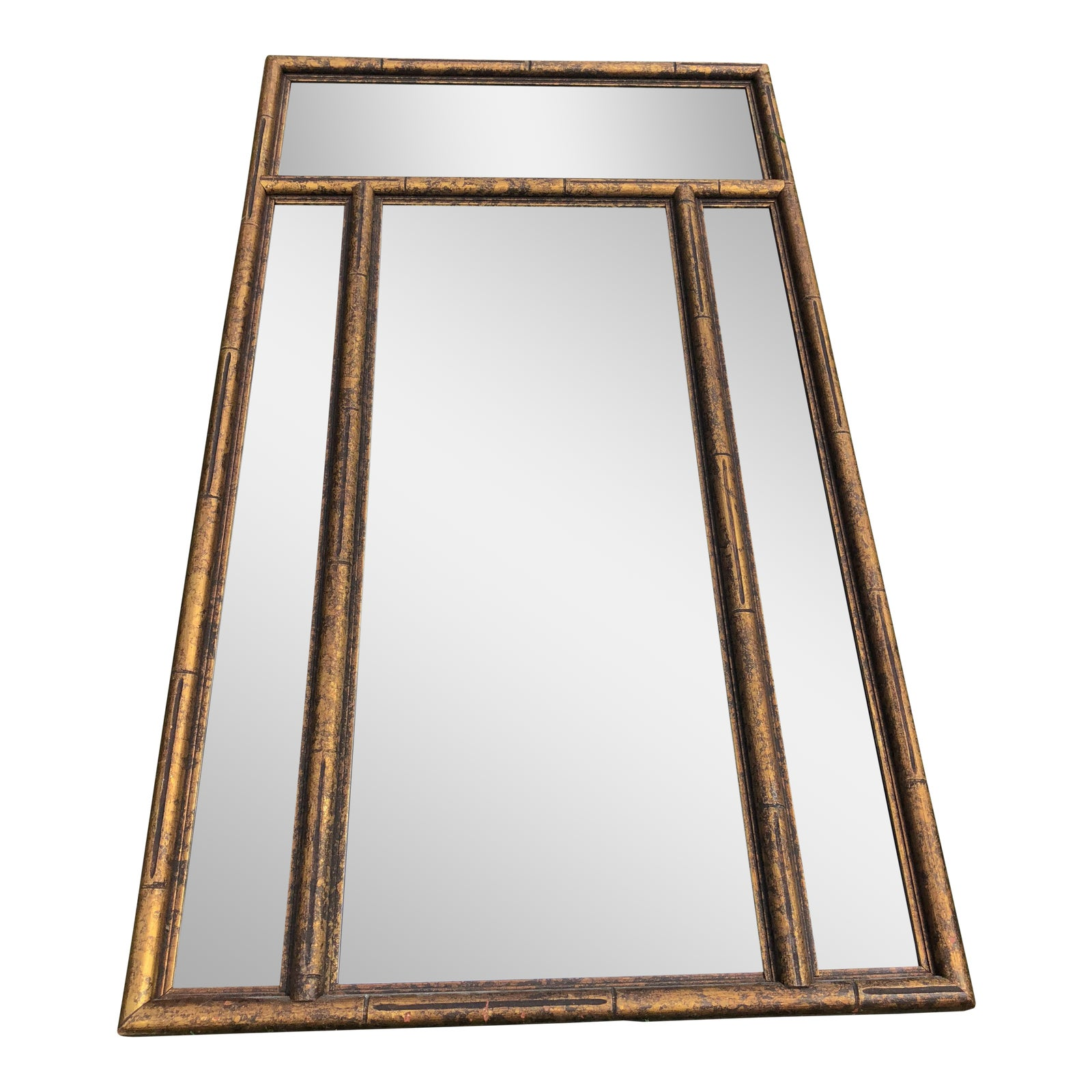 Asian chinoiserie gold faux bamboo mirror w surrounding smoked mirrors see pictures chairish