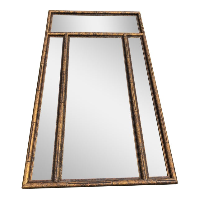 """Large 48"""" Chinoiserie Gold Faux Bamboo Mirror W Surrounding Smoked Mirrors-See Pictures For Sale"""