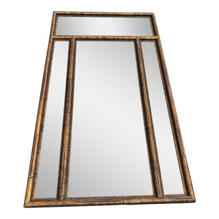 Vintage Asian Chinoiserie Gold Faux Bamboo Mirror W Surrounding Smoked Mirrors-See Pictures