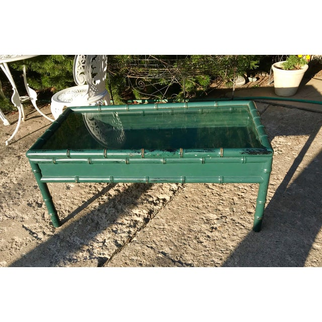 Vintage Hunter Green Faux-Bamboo Coffee Table For Sale In Denver - Image 6 of 6