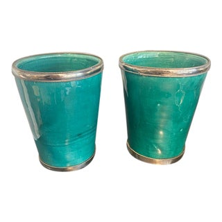 Hand-Made Glazed Ceramic Vases - a Pair For Sale