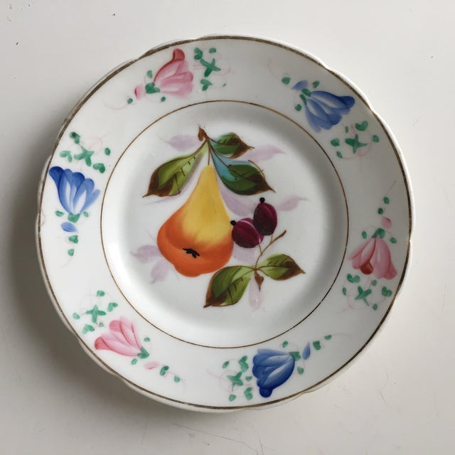 4 Antique French Porcelain Hand-Painted Fruit Plates For Sale In New York - Image 6 of 10