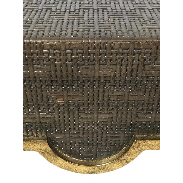 2010s Hollywood Regency Chelsea House Raffia Wrapped Accent Table For Sale - Image 5 of 6