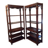 Image of 1970s Mid-Century Modern Lighted Bamboo Etageres - a Pair For Sale