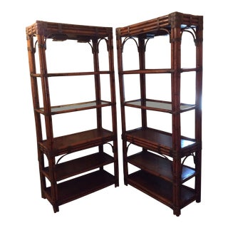 1970s Mid-Century Modern Lighted Bamboo Etageres - a Pair For Sale