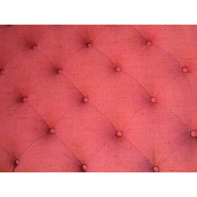 Linen Orange Oval Tufted Ottoman For Sale - Image 7 of 7